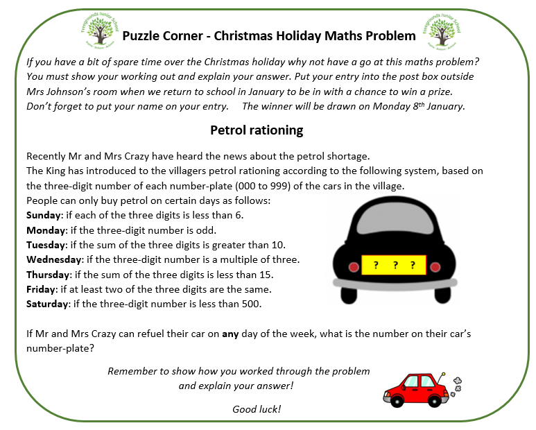 Puzzle Corner Christmas Maths Problem - Freegrounds Junior School